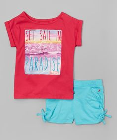 Look at this Magenta 'Set Sail' Tee & Aqua Shorts - Infant, Toddler & Girls on #zulily today!