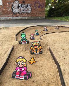 "Swedish artist Johan Karlgren (aka Pappas Parlor) creates some fantastic real life ""pixel art"" with plastic beads. Fuse Beads, Perler Beads, Pixel Art, Mario Kart Characters, Arcade Games, Perler Bead Mario, Street Art, Mario And Luigi, Mario Bros"
