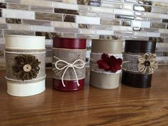 Recycling von 4 Dosen von RusticRebelCreations on Etsy Source by olgasner Tin Can Crafts, Jar Crafts, Diy And Crafts, Crafts With Tin Cans, Soup Can Crafts, Upcycled Crafts, Repurposed, Tin Can Art, Recycled Tin Cans