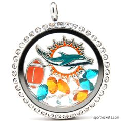 Miami Dolphins charm locket necklace from SportLockets.com. Includes NFL licensed charm, football charm and Swarovski crystals in team colors. Available in silver, black or gold with your choice of chain.