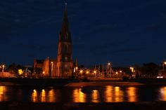 Ballina Cathedral with the River Moy in the Foreground. Ballina, Co. Mayo, Ireland.