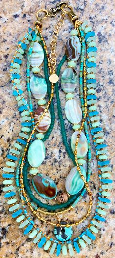 Sea Glass Necklace: Gorgeous Sea Glass, Turquoise, Blue Agate, Bronze Pearl and Gold Necklace $350