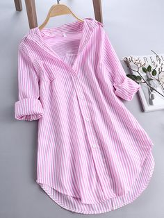 ZHI Chic Stripe Long Sleeve Turn-down Collar Loose Shirts Cheap - NewChic Mobile Style Outfits, Casual Outfits, Loose Shirts, Long Sleeve Shirts, Women's Shirts, Stylish Dresses, Fashion Dresses, Outfit Online, Mode Abaya