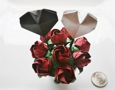 Mini Origami Roses Hearts in a Pot.Handmade Flowers Roses Hearts.Origami Heart Pot.Wedding decor.Paper Flower.Valentines Day.Gift for her.