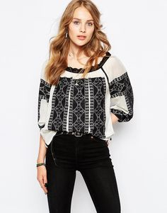 Maison Scotch Vintage Inspired Top With Embroidery and Lace Details