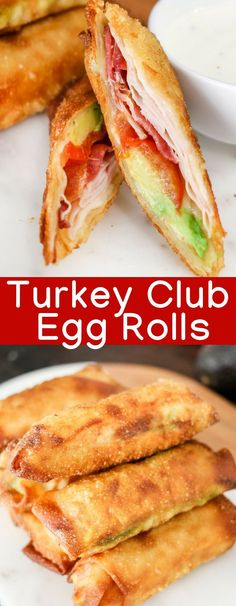 Ready for a Turkey Club Sandwich taken to the next level? These crispy Turkey Club Egg Rolls are filled with turkey bacon tomato avocado cheese and a special sauce! Sub cheese for eggroll wrapper Wonton Recipes, Egg Roll Recipes, Appetizer Recipes, New Recipes, Dinner Recipes, Cooking Recipes, Favorite Recipes, Healthy Recipes, Eggroll Wrapper Recipes