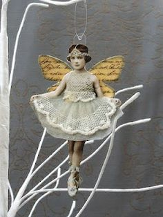 PaperArtsy: 2018 Topic Paper Dolls {Topic Introduction and Challenge} Vintage Christmas, Christmas Crafts, Christmas Decorations, Christmas Ornaments, Images Victoriennes, Fairy Jars, Little Presents, Fairy Dolls, Mixed Media Art