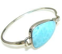 $157.25 Natural Beauty! AAA Blue Larimar Sterling Silver Bracelet at www.SilverRushStyle.com #bracelet #handmade #jewelry #silver #larimar