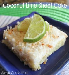Coconut Lime Sheet Cake - Yields approximately 24 generous servings when baked in a 16 1/2 x 11 1/2 pan.