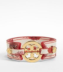 Logo Skinny Printed Double Snap Cuff