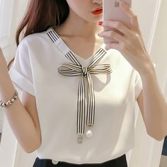 2019 Womens Tops And Blouses mujer de moda Chiffon Cool Ladies Korean Style Chemisier Femme Fashion Clothing Summer Female Bow Mode Outfits, Stylish Outfits, Fashion Outfits, Fashion Clothes, Women's Clothes, Dress Neck Designs, Blouse Designs, Super Moda, Kurta Neck Design