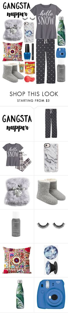 """Lovely Loungewear"" by osherman7103 ❤ liked on Polyvore featuring P.J. Salvage, Casetify, Nicole Miller, M&Co, Living Proof, Velour Lashes, Surya, PopSockets, Christian Dior and Eos"