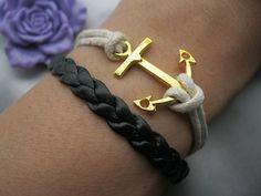 bracelet golden anchor bracelet anchor braid by happynessDIY on Etsy, $4.99