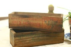 Small Wooden Crate Primitive Wedding Card Box. Great idea to add flowers ect...for center pieces.