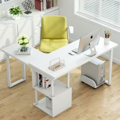 Tribesigns Modern L-Shaped Desk, Free Rotating Corner Computer Desk Writing Desk/Table With Storage Shelves For Home Office (White) Home Office Desks, Home Office Furniture, Corner Office Desk, White Desk Office, Ikea Office, Home Desk, Office Decor, Modern L Shaped Desk, White L Shaped Desk