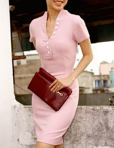Love this pink dress! Not sure it would work at the top in the chest area, but you know...