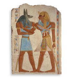 Relieve Anubis-Seti I | Relieve egipcio policromado | Artesanía