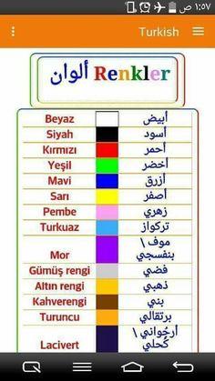 الأوان في اللغة التركية Colors in Turkish