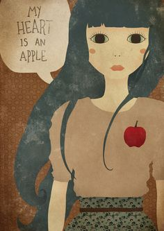My Heart Is An Apple - Art Print by Ana Vieira