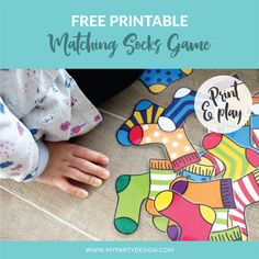 Art therapy activities printables FREE Printable Matching Socks Game - My Party Design Toddler Learning Activities, Educational Activities, Preschool Activities, Toddler Games, Speech Activities, Free Printables Preschool, Matching Games For Toddlers, Creative Curriculum Preschool, Preschool Colors
