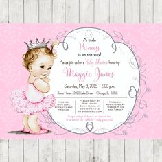 Vintage Ballerina Baby Shower Invitation for girl, princess crown, pink, DIY Printable