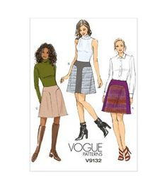 Lined skirt (semi-fitted through hips) has seam detail and back zipper. Visit the pattern department in store to browse our patterns available in store.