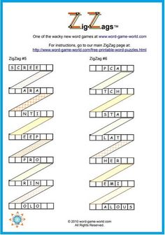 If you want some new fun word puzzles, try our ZigZags! Twist your way through diagrams of words to complete each puzzle. How long will it take you? Printable Word Games, Free Printable Crossword Puzzles, Difficult Word Search, Difficult Puzzles, Letter N Words, Bible Words, Hard Words, Cool Words, Fun Brain