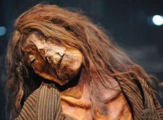 A 13th-century pre-Columbian mummy of an Inca adult female from Peru on display at the California Science Center, Los Angeles.  Mummies have been found in remote regions of the Andes Mountains, some remarkably well-preserved with skin and hair, in spite of many being around 1,000 years old.