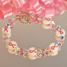 Breast Cancer Awareness Bracelet - Swarovski Crystal and Handpainted beads