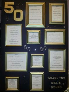 Table-plan for Golden Wedding Anniversary luncheon using upcycled picture-frames sprayed gold!
