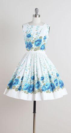 Bella Vista . Beautiful blue rose summer dress