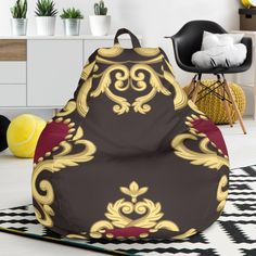 Luxury Royal Hearts Bean Bag Chair – This is iT Original Bag Chairs, Bean Bag Chair, Beans, Relax, Just For You, The Originals, Luxury, Cover, Interior