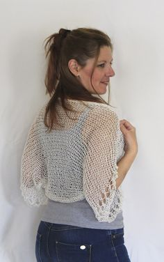 Off white summer shrug, shimmering loose knit shrug