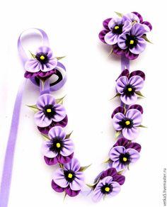 Лента в косу с цветами
