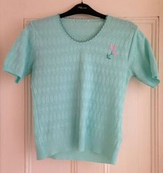 Ladies Vintage Short Sleeved Summer Jumper Sweater Mint Turquoise with Flower.