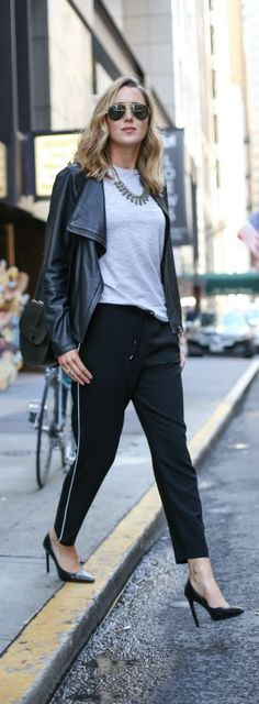 How To Wear Track Pants To The Office {piped jogger pants, striped tee, leather jacket, pointed toe pumps, black saddle bag, statement necklace + aviator sunglasses}