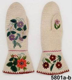 Nalbound mittens (bride's mittens), Dalby, Sweden. Estimated time of production 1860-1874. Length 29 cm, width 9 cm.