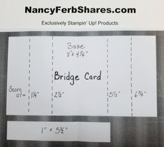 """I love all the Bridge Card fancy fold layouts I am seeing, but wanted to change it a little. I moved the """"bridge"""" piece up. 3d Templates, Card Making Templates, Card Making Tips, Card Making Tutorials, Card Making Techniques, Fun Fold Cards, Pop Up Cards, Folded Cards, Bridge Card"""