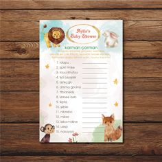Baby Shower Word Scramble| Baby Shower Oyunları Türkçe | Watercolor Animals Baby Shower | Eğlenceli Baby Shower Oyunları | Purple & Purple Shower Party, Baby Shower Parties, Diaper Parties