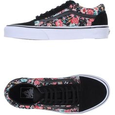 Vans Low-Tops & Trainers (€85) ❤ liked on Polyvore featuring shoes, sneakers, vans, zapatos, black, black shoes, floral shoes, black flat shoes, black trainers and floral sneakers