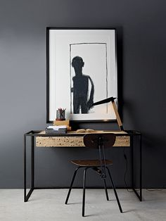 Cool desk, creepy painting though home office design, home office decor, ho Home Office Design, Home Office Decor, House Design, Creepy Paintings, Grey Interior Design, Office Workspace, Office Spaces, Ethnic Design, Grey Room