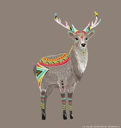 deer. Gray and colorful