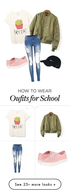 """""""Tumblr inspired school outfit"""" by fashionista2205 on Polyvore featuring NIKE and Vans"""