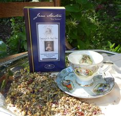 Compassion for Mrs. Bennet's Nerves  Tisane with chamomile, lavender, peppermint, hibiscus, passion flower, and rose petals  $10.95