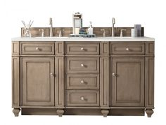 James Martin Vanities Bristol 60 in. W Double Bath Vanity in Whitewashed Walnut with Solid Surface Vanity Top in Arctic Fall with White Basin - The Home Depot Double Sink Bathroom, Bathroom Sink Vanity, Bath Vanities, Vanity Set, Bathroom Mirrors, Vanity Ideas, Cream Bathroom, Zen Bathroom, Bathroom Showers
