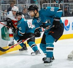 San Jose Sharks defenseman Brent Burns looks to clear the puck out of danger (Nov. 26, 2014).