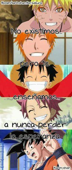 Naruto,ichigo, luffy, natsu y goku personajes de series que me han llegado asta él fondo