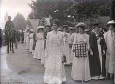 Suffragette march in Hyde Park 23rd July 1910. Suffragettes included in the photograph are Emily Wilding Davison, Christabel Pankhurst, Sylvia Pankhurst & Emmeline Pethick-Lawrence