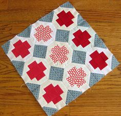 crazy cute red cross quilt!