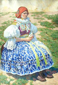 File:Vaclav Maly - Girl in Folk Costume Popular Costumes, Legends And Myths, Folk Clothing, Romantic Outfit, Folk Costume, Wikimedia Commons, Beautiful Patterns, Czech Republic, Fashion History